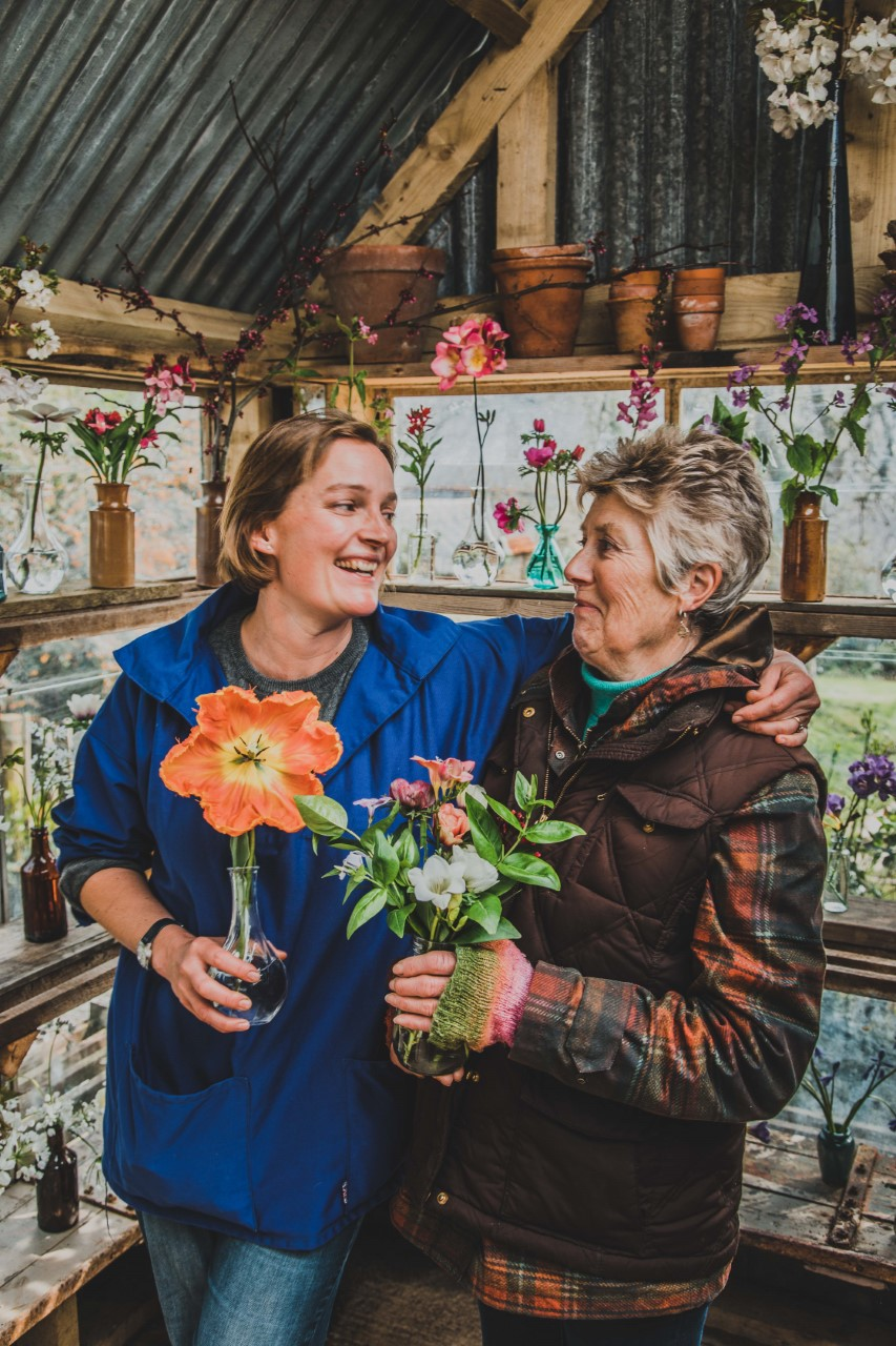 Clare and her mum, of Hendra Farm Flowers